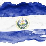 El Salvador flag  is depicted in liquid watercolor style isolated on white background