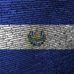 El Salvador flag  is depicted on the screen with the program code. The concept of modern technology and site development